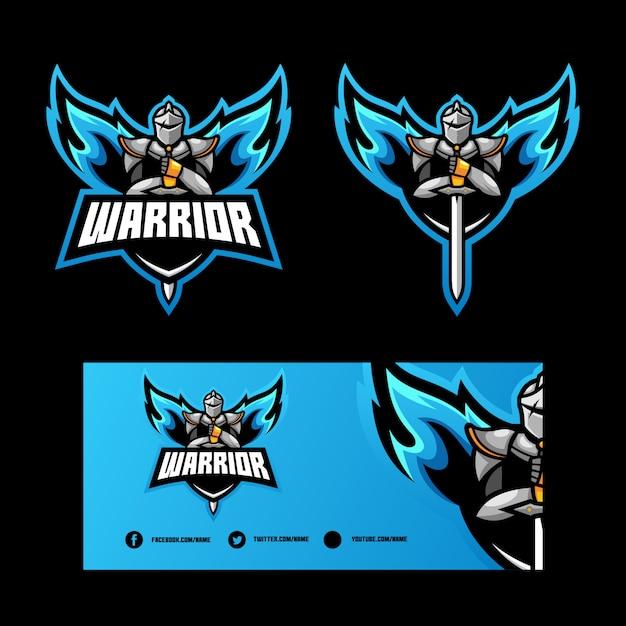 Abstracte angel warrior illustratie vector ontwerpsjabloon Premium Vector