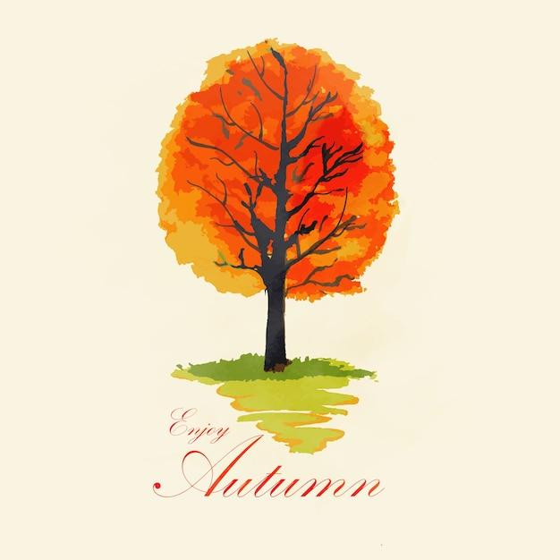Abstracte aquarel herfst boom Premium Vector