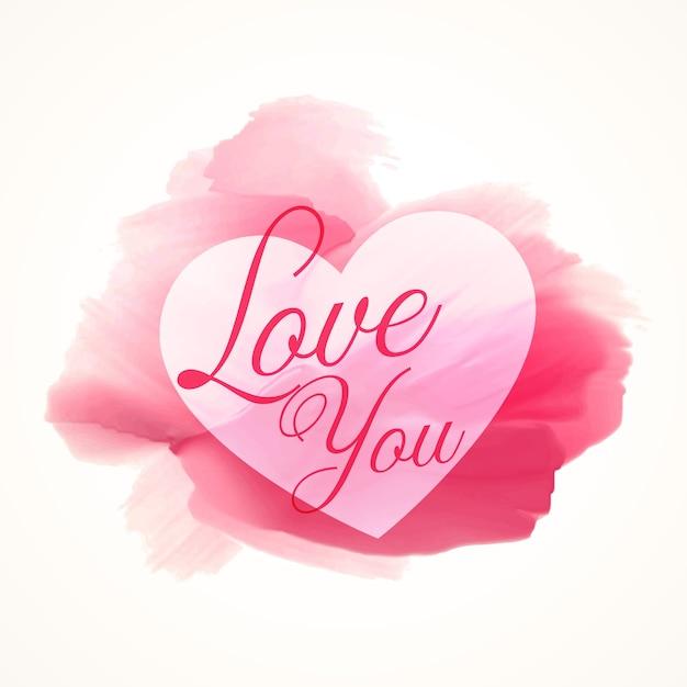 Abstracte aquarel roze verf met hart vorm en hou van je tekst vector gratis download - Hoe roze verf ...