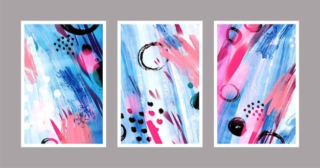 Abstracte aquarel vormen covers set Gratis Vector