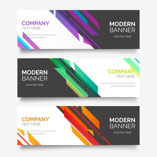 Abstracte banner collectie met moderne vormen Gratis Vector