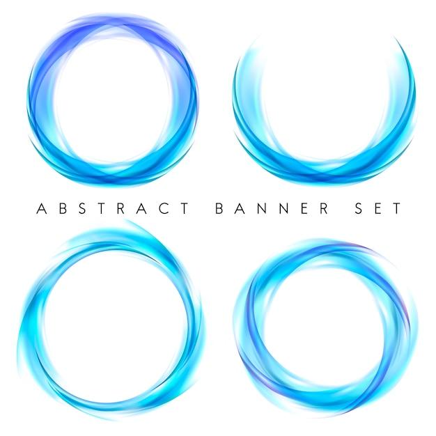 Abstracte banner die in blauw wordt geplaatst Gratis Vector
