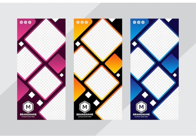 Abstracte banner oprollen sjabloon ingesteld voor het bedrijfsleven Premium Vector