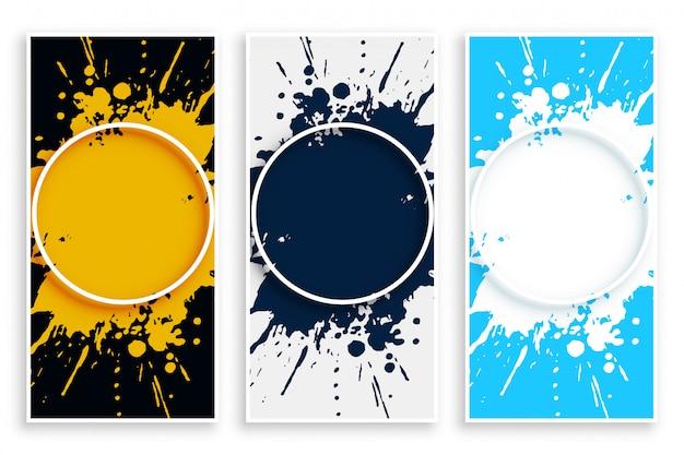 Abstracte banner van de inktplons in verschillende kleuren Gratis Vector