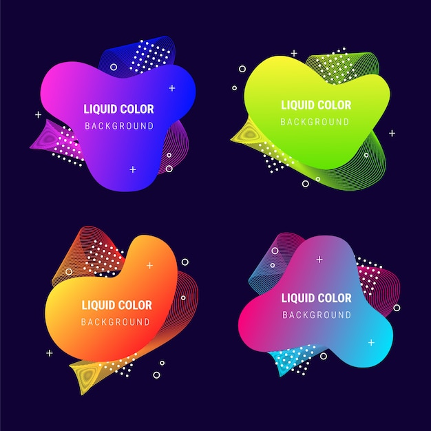 Abstracte banner vloeistof levendige gradiënt vormen collectie Gratis Vector