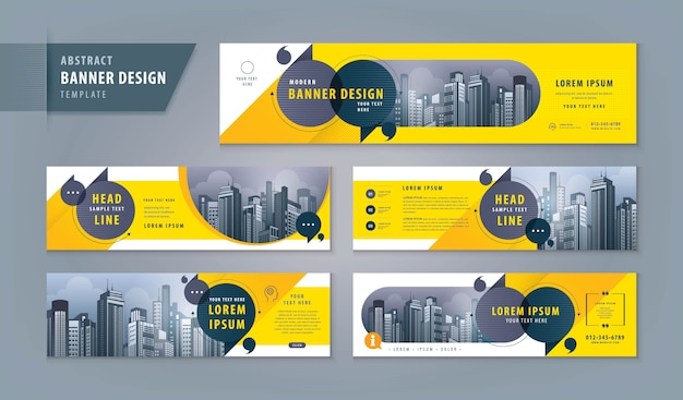 Abstracte banner websjabloon set Premium Vector