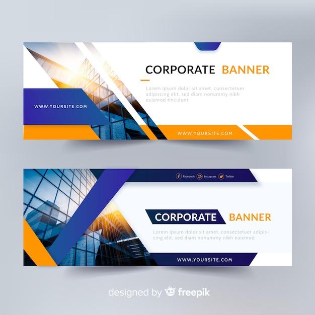 Abstracte bannermalplaatjes met foto Gratis Vector