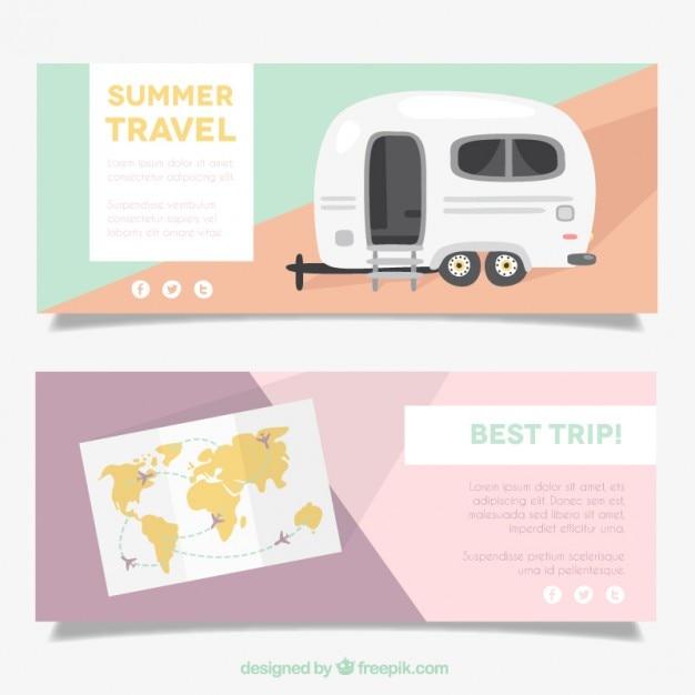 Abstracte banners met caravan en kaart Gratis Vector