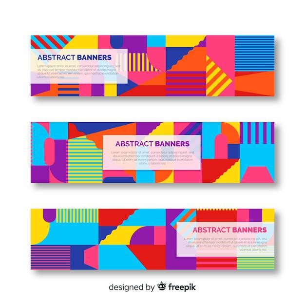 Abstracte banners met geometrisch ontwerp Gratis Vector