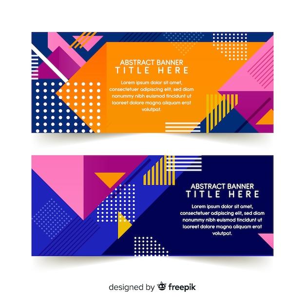 Abstracte banners met geometrische vormen Gratis Vector