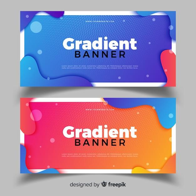 Abstracte banners met gradiëntontwerp Gratis Vector
