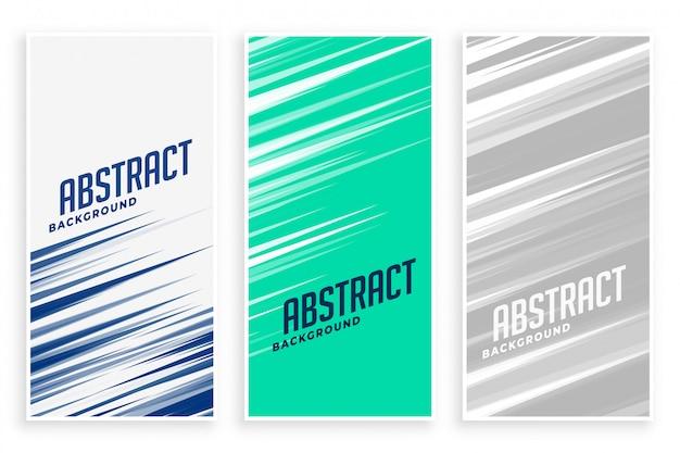 Abstracte banners met snelle bewegingslijnen in drie kleuren Gratis Vector