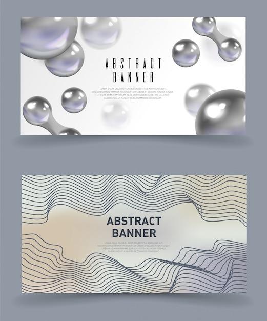 Abstracte banners, modern, futuristisch. Premium Vector