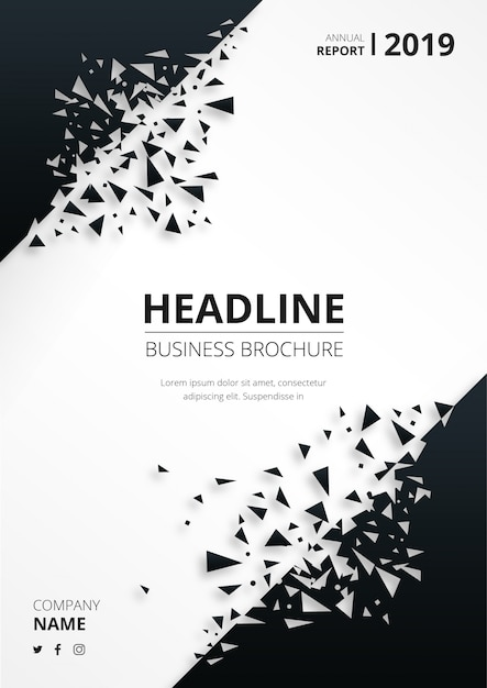 Abstracte bedrijfsbrochure met gebroken vormen Gratis Vector