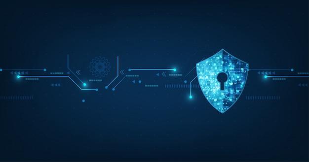 Abstracte beveiliging digitale technologie banner Premium Vector