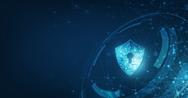 Abstracte beveiliging digitale technologie banner. Premium Vector