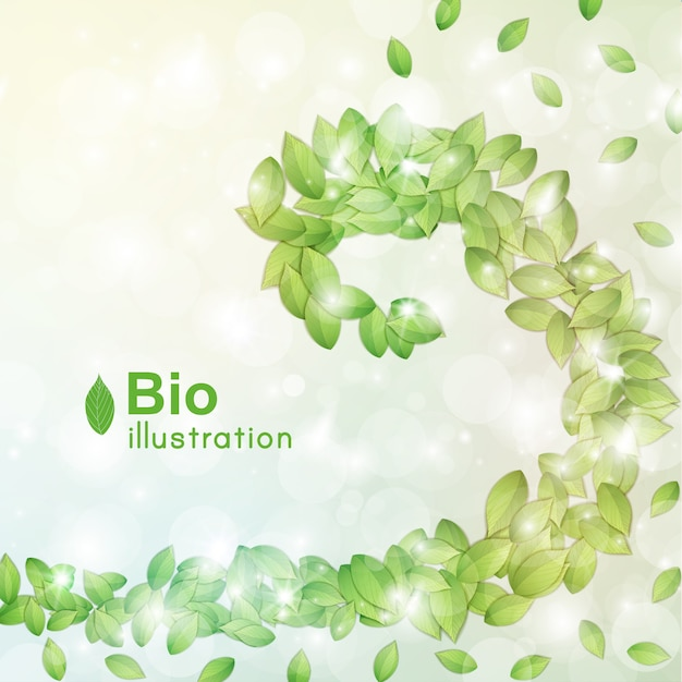 Abstracte bio met groene bladeren bokeh en vlakke lichteffecten Gratis Vector