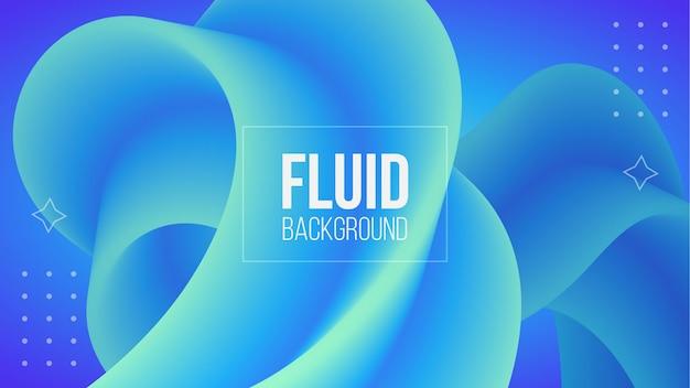 Abstracte blauwe 3d vloeibare vormachtergrond Premium Vector