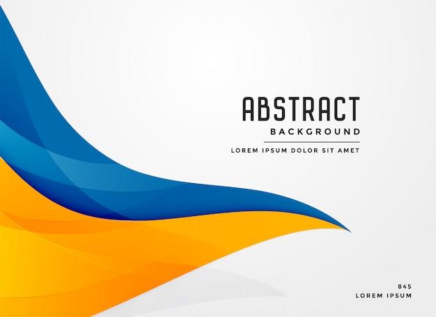 Abstracte blauwe en gele golvende vormachtergrond Gratis Vector