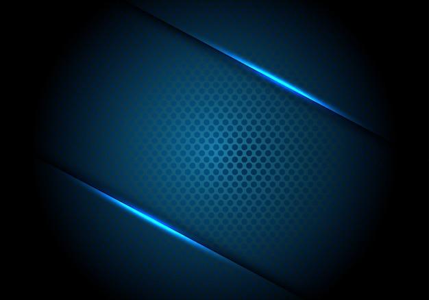 Abstracte blauwe lichte lijnschaduw op de donkere achtergrond van het cirkelnetwerk. Premium Vector