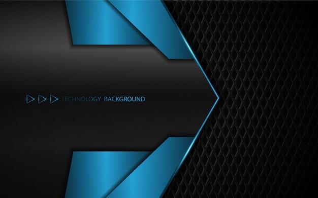 Abstracte blauwe metaalvormen op donkere achtergrond Premium Vector