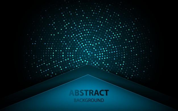 Abstracte blauwe pijl op donkere achtergrond met glitters Premium Vector