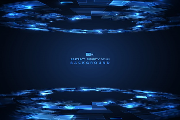 Abstracte blauwe technologie van futuristische achtergrond. Premium Vector