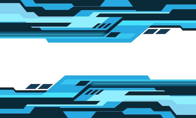 Abstracte blauwe toon geometrische cyber circuit op witte lege ruimte ontwerp moderne futuristische technische achtergrond. Premium Vector