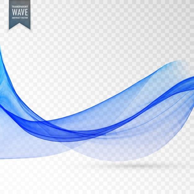 Abstracte blauwe vloeiende golf op transparante achtergrond Gratis Vector