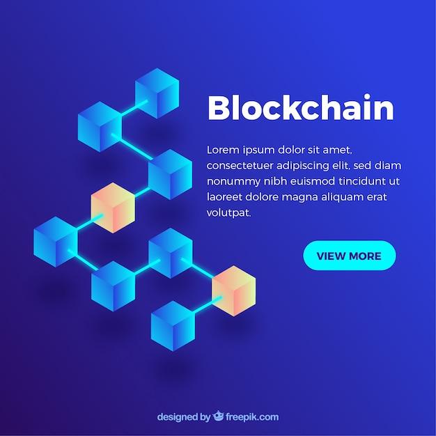 Abstracte blockchainachtergrond Gratis Vector