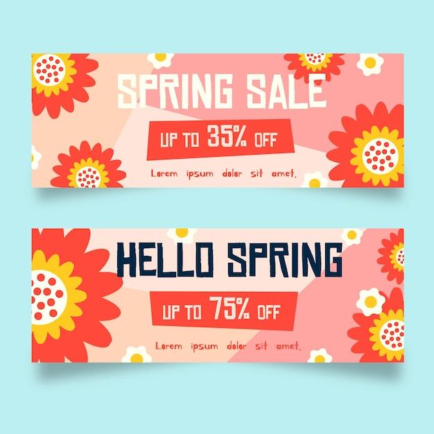 Abstracte bloemen platte ontwerp lente verkoop banners Gratis Vector