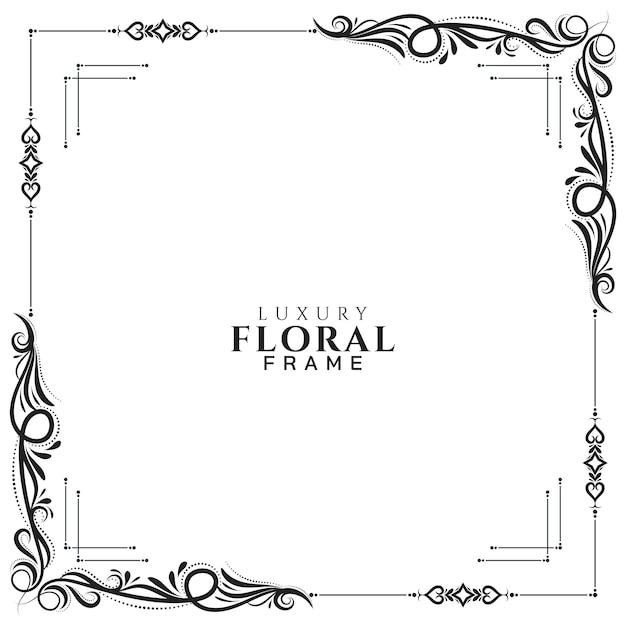 Abstracte bloemenkader witte elegante vector als achtergrond Gratis Vector