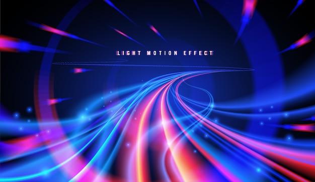 Abstracte bochtige lichttrajecten Premium Vector