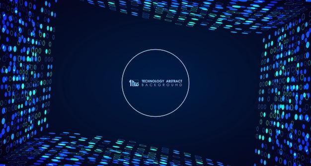Abstracte brede blauwe technologie cirkel stippen achtergrond Premium Vector
