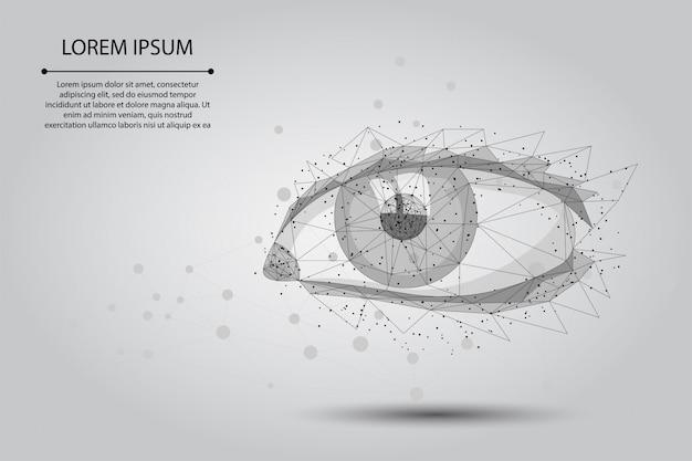 Abstracte brijlijn en puntlasercorrectie. laag poly menselijke iris moderne operatie chirurgie technologie Premium Vector