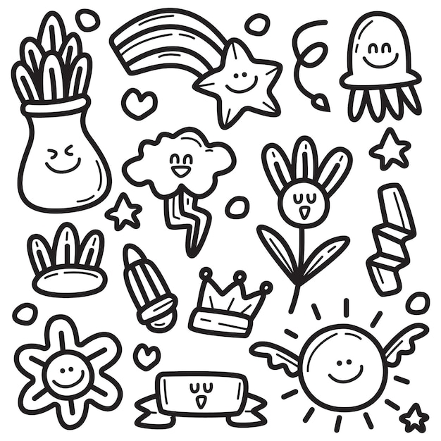 Abstracte cartoon doodle Premium Vector