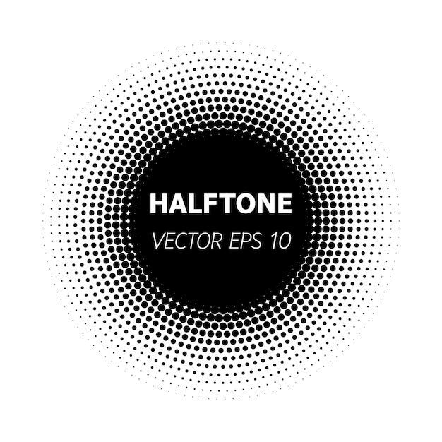 Abstracte cirkel zwarte halftone op witte achtergrond. Premium Vector