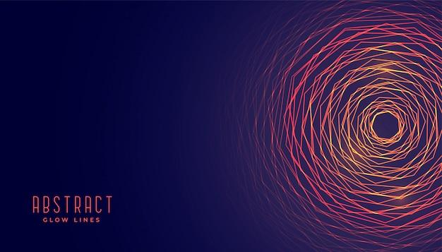 Abstracte cirkelvormige gloeiende lijnenachtergrond Gratis Vector