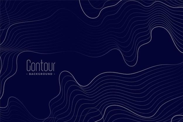 Abstracte contourlijnen donkerblauwe achtergrond Gratis Vector