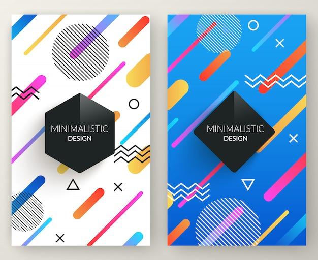 Abstracte de stijl retro verticale banners van memphis met veelkleurige eenvoudige geometrische vormen Premium Vector