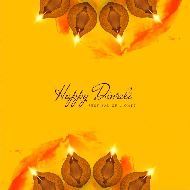 Abstracte decoratieve gelukkige diwali gele achtergrond Gratis Vector