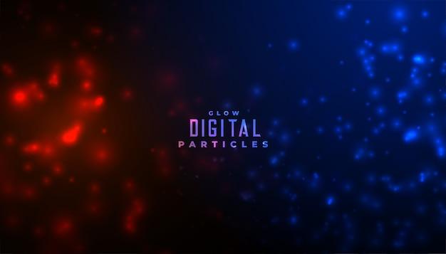 Abstracte deeltjes gloeiende achtergrond in rode en blauwe kleuren Gratis Vector