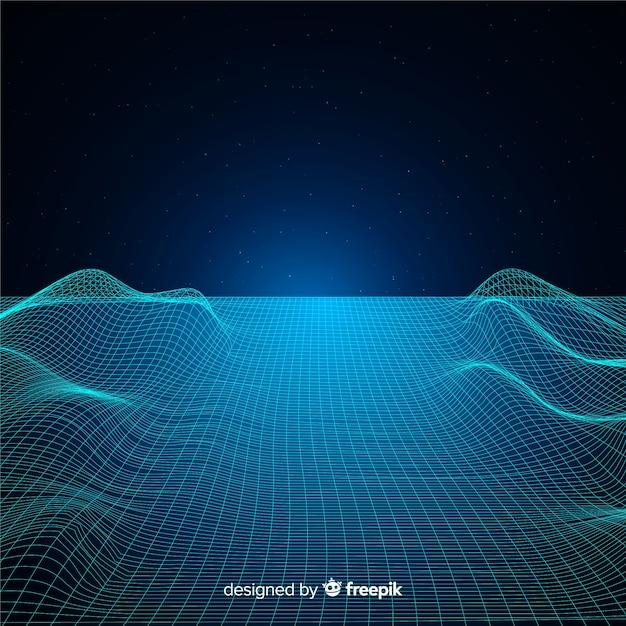 Abstracte digitale mesh golven achtergrond Gratis Vector
