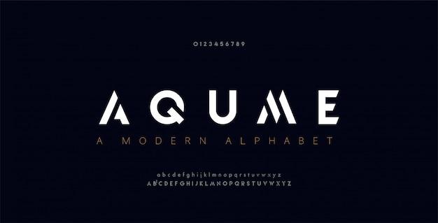 Abstracte digitale moderne alfabetlettertypen. Premium Vector
