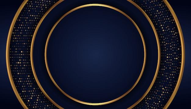 Abstracte donkerblauwe achtergrond met gouden lijnen en punten Premium Vector