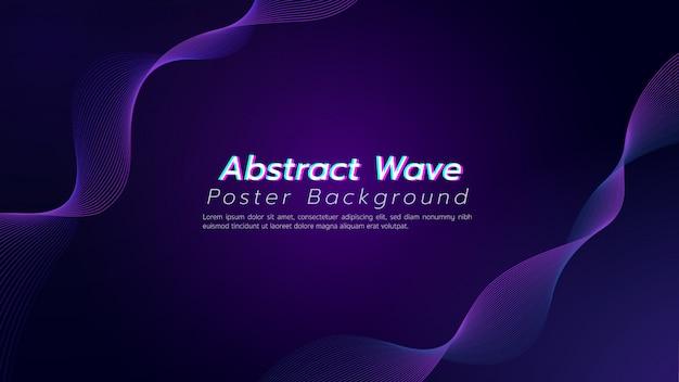 Abstracte donkere purpere achtergrond als achtergrond met krommelijn. illustratie over technologie en innovatieconcept. Premium Vector