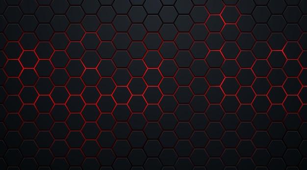 Abstracte donkere zeshoekige vormen op rode neon achtergrondtechnologiestijl. Premium Vector