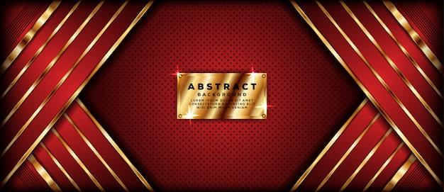 Abstracte donkerrode bannerachtergrond met gouden overlappingslagen Premium Vector