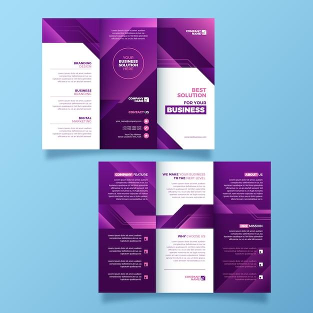 Abstracte driebladige stijlsjabloon brochure Gratis Vector