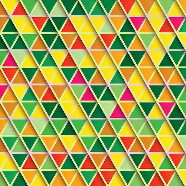 Abstracte driehoeksachtergrond, veelkleurig patroon in warme kleuren Premium Vector